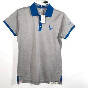 PETER MILLAR Gray NWT Small Golf Shirt Polo Blue